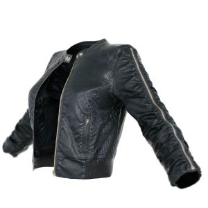 Vintage Jacket Black Leather Zipper