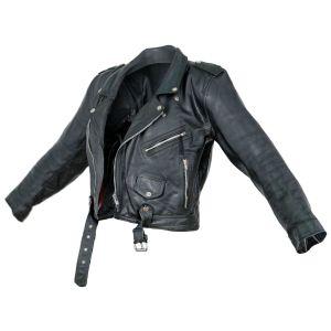 Vintage Jacket Moto Black Leather Open