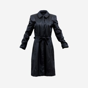 Long Black Leather Underworld Coat Closed