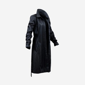 Long Black Leather Underworld Coat Open