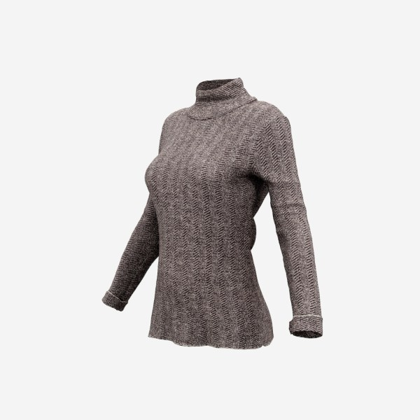 Brown Turtle Neck Pull Top