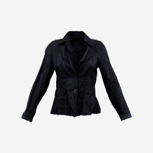 Shoulder Button Dark Blue Jacket Shirt Top