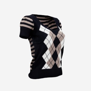 Squares Lines Open Neck Pull Top