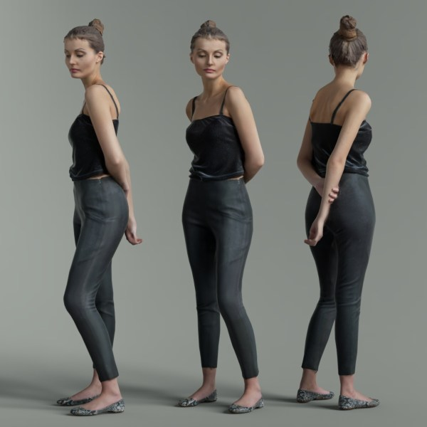 Casual Girl in Grey Pants and Black Top