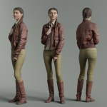 Girl in Green Pants and Brown Leather Jacket