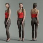 Girl in Red Top and Leggings Posing