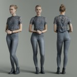 Grey Outfit Girl Casual Pose
