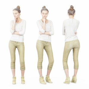 Thinking Pose in Green Pants and White Top