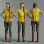 Yellow Top and Leather Boots Girl