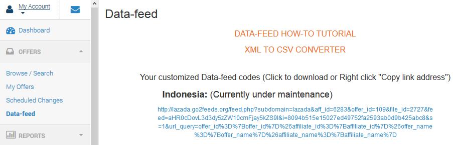 Data feed - CSV - Lazada Việt Nam