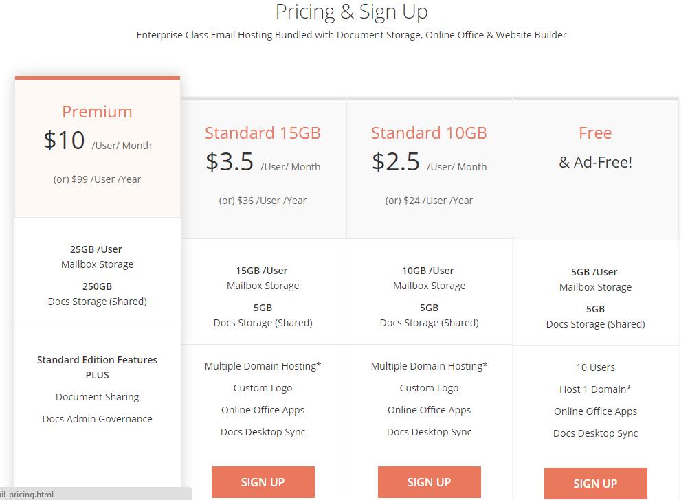 giá dịch vụ email theo tên miền tại ZOHO.COM