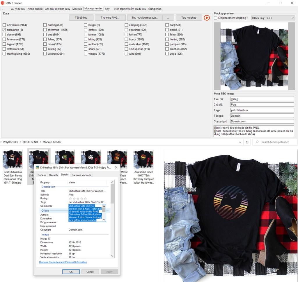 Tự động tạo mockup áo từ dữ liệu thiết kế pNG đã xử lý hoặc tuỳ chỉnh