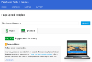 Google Page Speed Insights improved