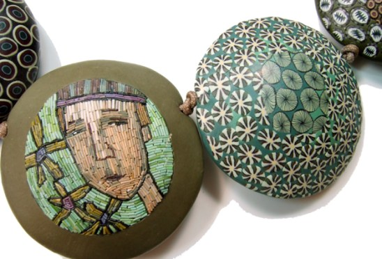 """Cynthia Toops, """"Billy by the Riverbak"""" Necklace, Micromosaic Inlay Detail, 1995, 1.75 x 1.75 x .5"""