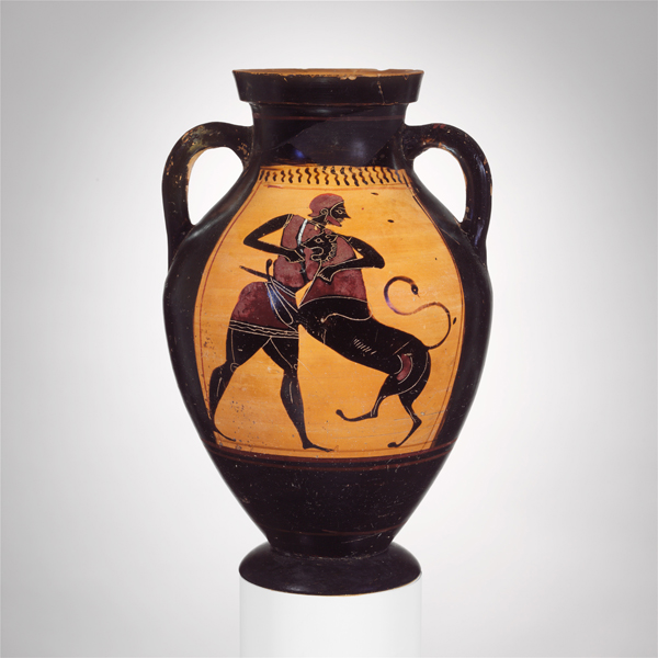 Herakles and the Nemean Lion Amphora c. 540 BC, terracotta, 10 9/16″ h Metropolitan Museum of Artno. 40.11.20