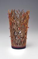 "Emily Squires Levine, Saragassum Vase with Red Blooms  2014, 8 1/2 "" H x 5"" diameter, polymer"
