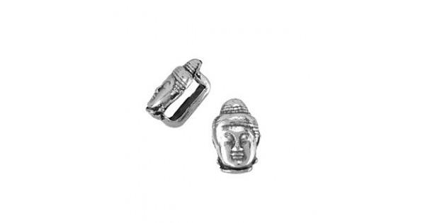 6x10mm(5x2mmID)Ant Silver Buddha Flat Leather Slider