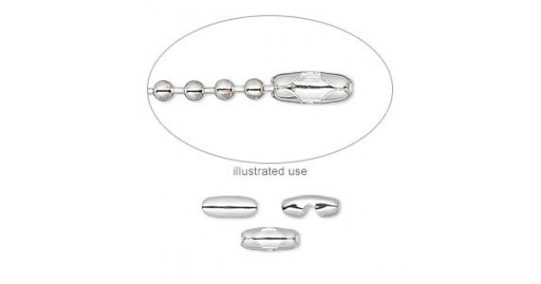 Silver Plated Ball Chain Connectors for 2.4mm chain