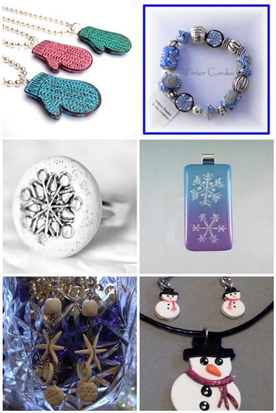 winter themed polymer clay jewellery