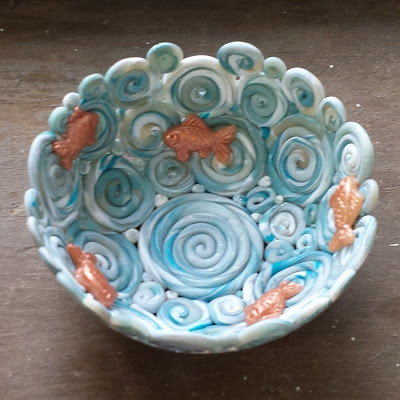Polymer Clay Coil Bowl With Tiny Goldfish Polymer Clay