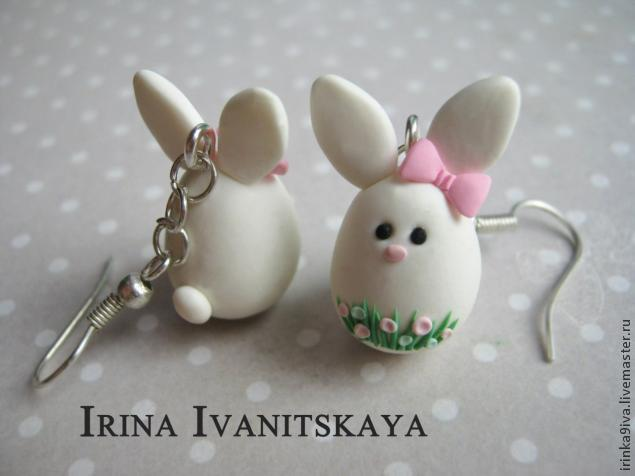 Polymer Clay Easter Bunny Charm Earrings