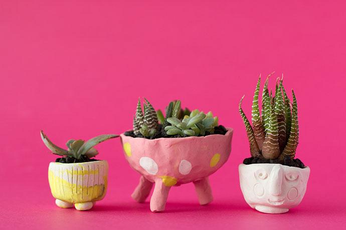 Tiny Polymer Clay Succulent Pots