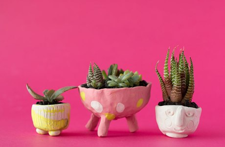 Tiny Polymer Clay Succulent Pots