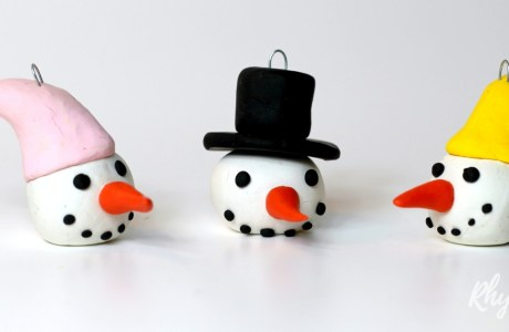 Snowmen Ornaments from Clay