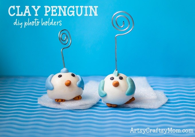 Homemade Clay and Penguin Photo Holder