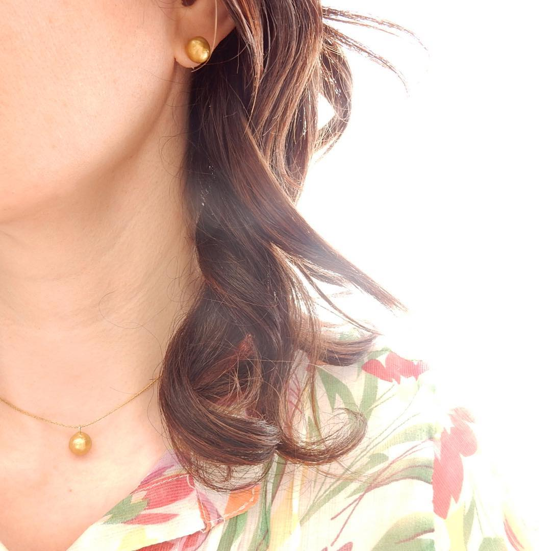 DIY Gold Stud Earring and Dainty Necklace from Polymer Clay