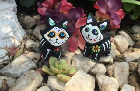 Day of the Dead Cat Sculpture