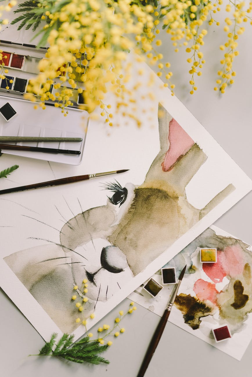 painting of a bunny on white paper