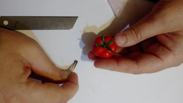 13 Polymer clay tomato. Photo tutorial on polymer clay food