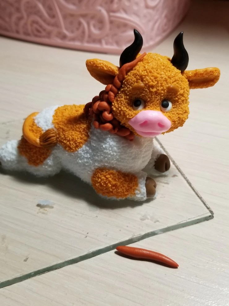 18 Bull from polymer clay.