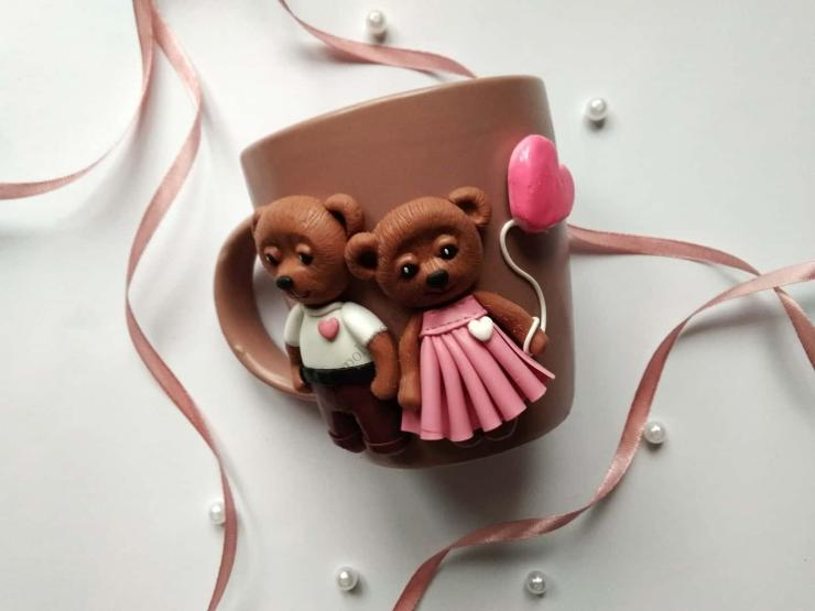 20 Polymer clay cup decor: A couple of bears