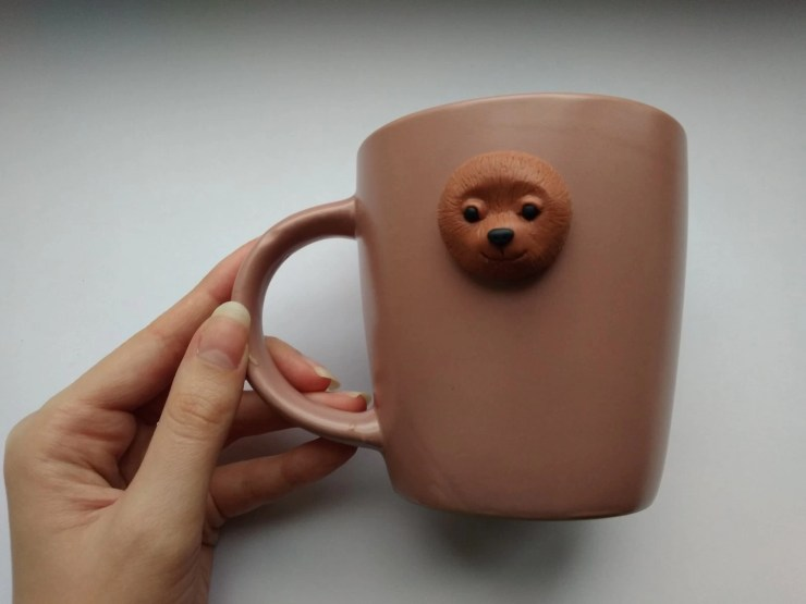 4 Polymer clay cup decor: A couple of bears