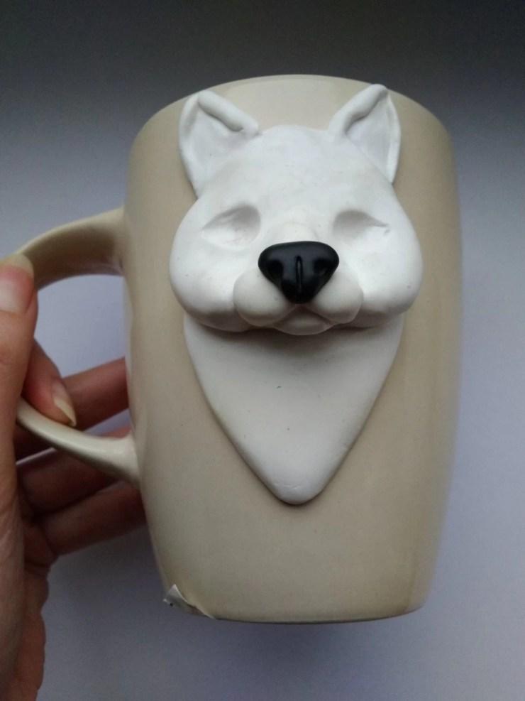 5 Polymer Clay Cup Decor idea: Husky Dog. Photo tutorial
