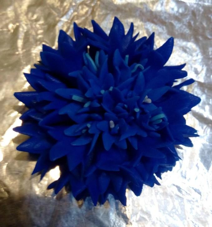 Polymer clay flower of cornflower. Photo tutorial