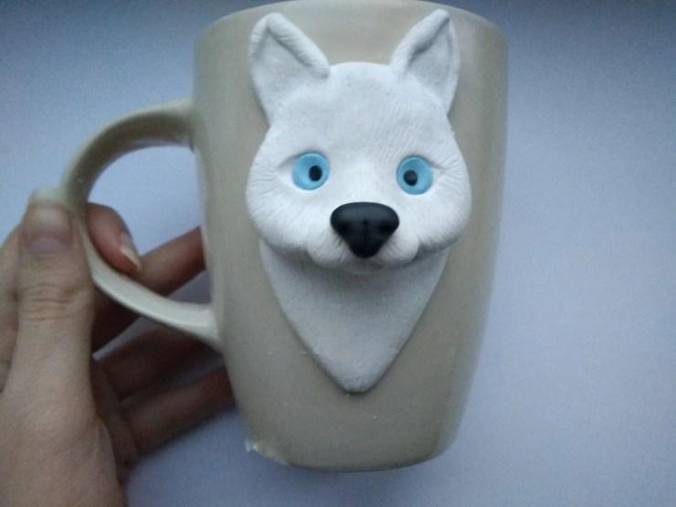 8 Polymer Clay Cup Decor idea: Husky Dog. Photo tutorial