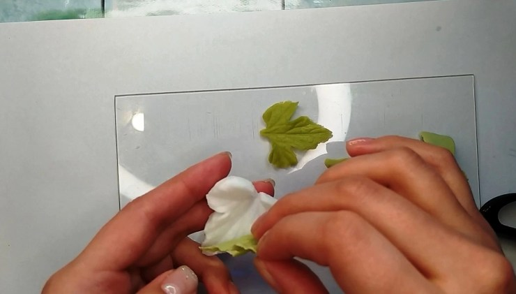 9 Anemone leaf or white and red currant leaf made from polymer clay