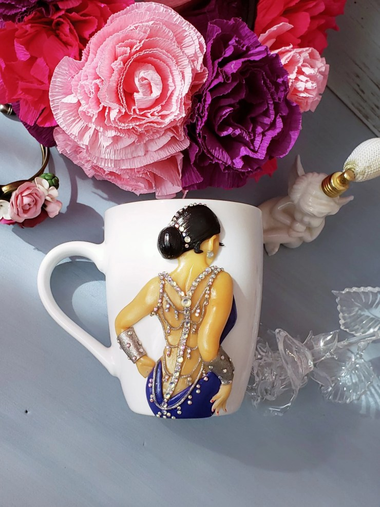 "polymer clay décor on a cup: ""The Girl in an Evening Dress"""