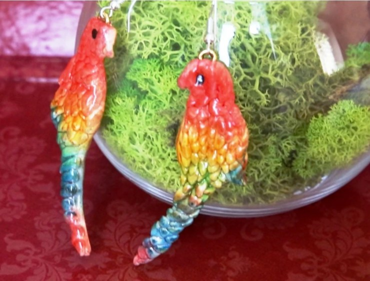 1 Polymer clay earrings: Parrots