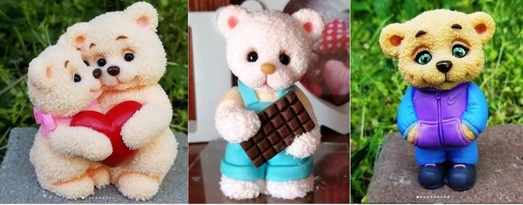 Polymer clay figurines Teddy bears