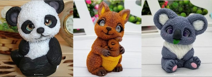 Polymer clay figurines panda, kangaroo, koala