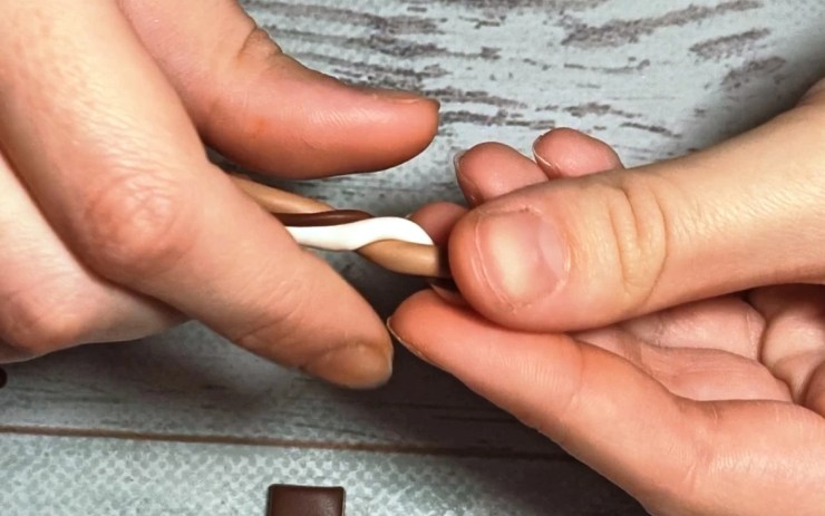 6. Polymer clay chocolate wafer straws, photo tutorial on sculpting