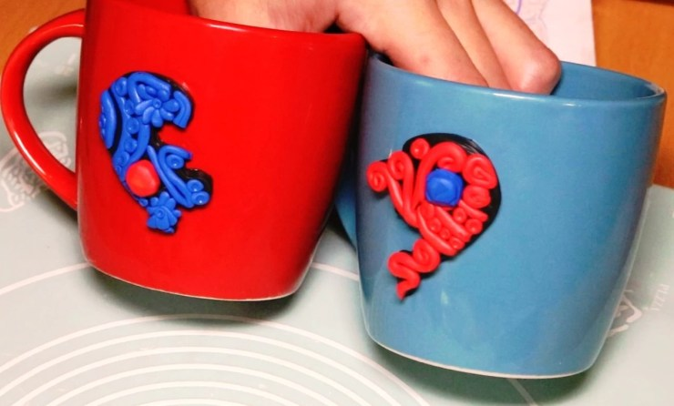 Polymer clay mugs decor: A couple of hearts