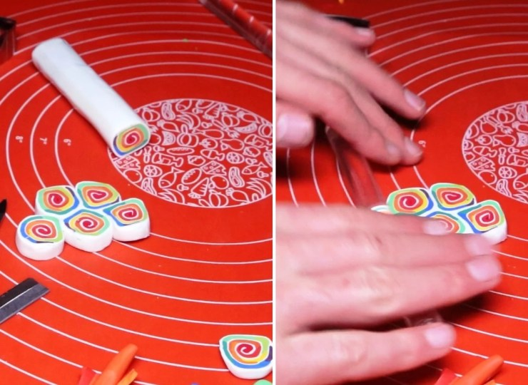 5 Polymer clay cane tutorial - Creation of polymer clay jewelry «Rainbow spiral»