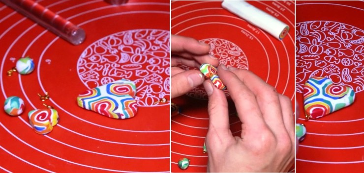 7 Polymer clay cane tutorial - Creation of polymer clay jewelry «Rainbow spiral»