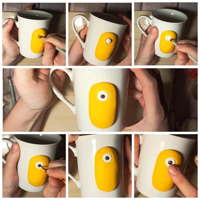 2 Polymer clay tutorial: Minion on a mug
