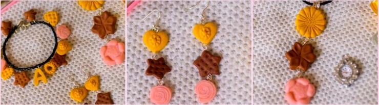 Jewelry set: pendant, bracelet, earrings made of mini polymer clay cookies